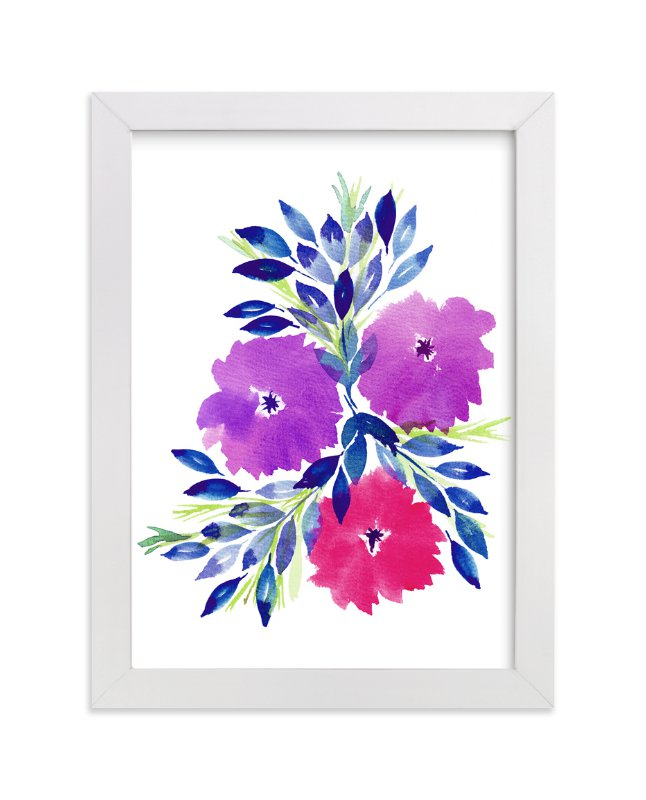 """hand painted flowers_2E"" - Art Print by aticnomar in beautiful frame options and a variety of sizes."