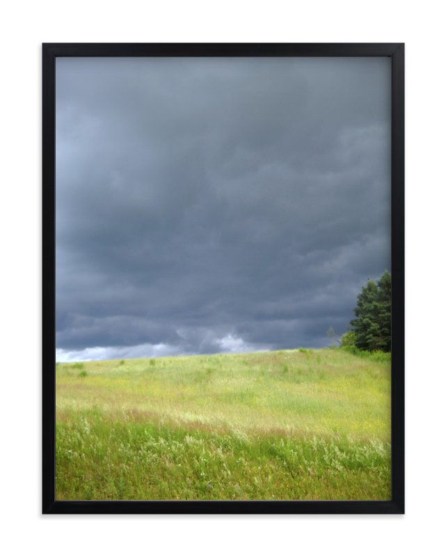 """""""Green Fields, Bruised Skies """" - Art Print by Kate Binns in beautiful frame options and a variety of sizes."""