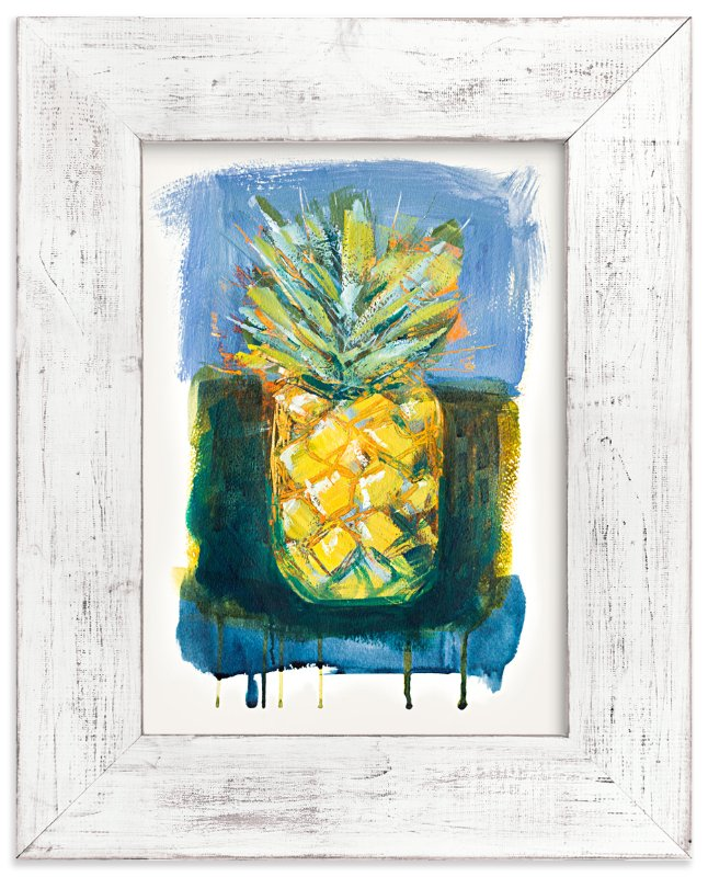 """""""Painterly Pineapple"""" - Art Print by Stacy Kron in beautiful frame options and a variety of sizes."""