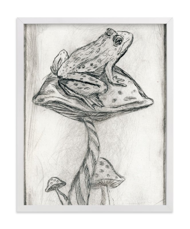 """Toad on Mushroom Monoprint"" - Art Print by Marta Berk in beautiful frame options and a variety of sizes."