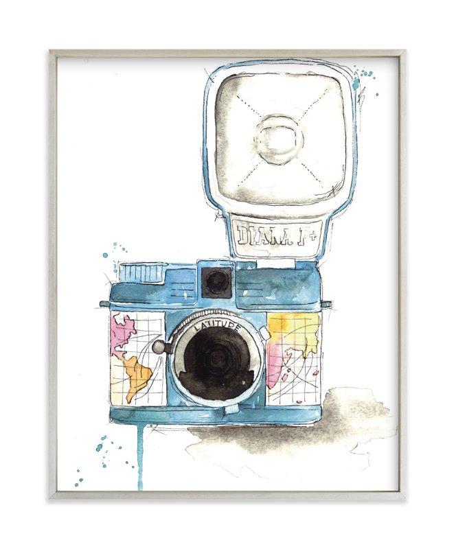 """Wanderlust Camera"" - Art Print by Kelsey McNatt in beautiful frame options and a variety of sizes."