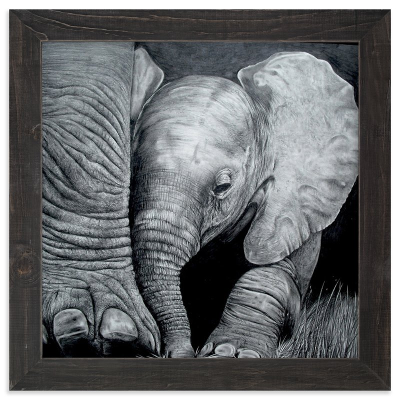 """Mommy's Baby Elephant"" - Art Print by Jerry Winick in beautiful frame options and a variety of sizes."