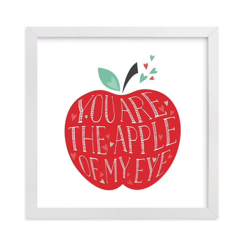 """""""Lettered Apple of My Eye"""" - Art Print by curiouszhi design in beautiful frame options and a variety of sizes."""