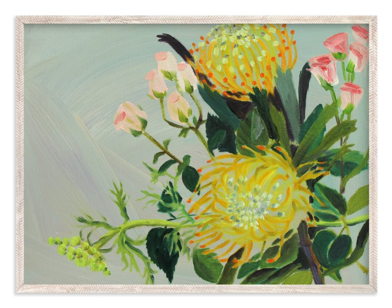 """""""Pincushion Protea Painting"""" - Art Print by Debra Bianculli in beautiful frame options and a variety of sizes."""