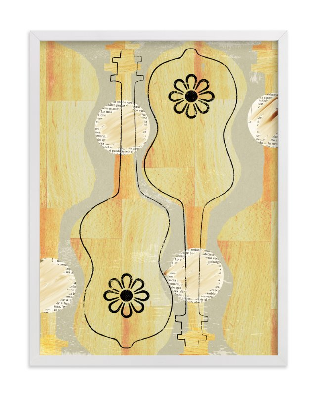 """Two Guitars"" - Art Print by Anne Crosse in beautiful frame options and a variety of sizes."