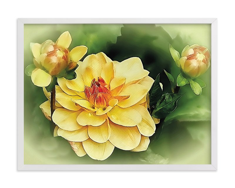 """""""Focus on the Dahlia"""" - Art Print by Mazing Designs in beautiful frame options and a variety of sizes."""