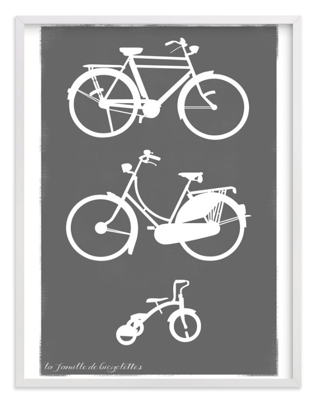 """La Famille de Bicyclettes"" - Art Print by That Girl Studio in beautiful frame options and a variety of sizes."