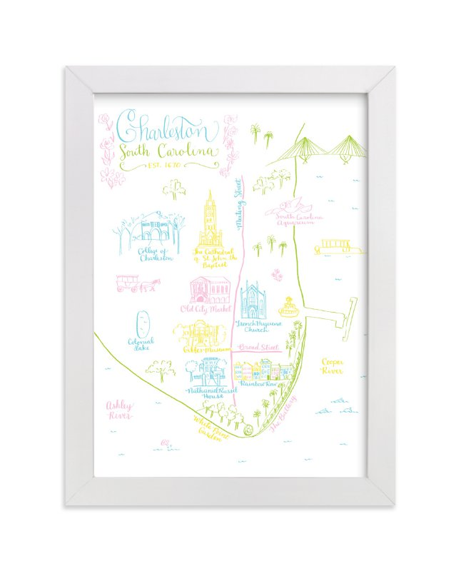 """""""Charleston, South Carolina Map"""" - Art Print by Megan Kelso in beautiful frame options and a variety of sizes."""