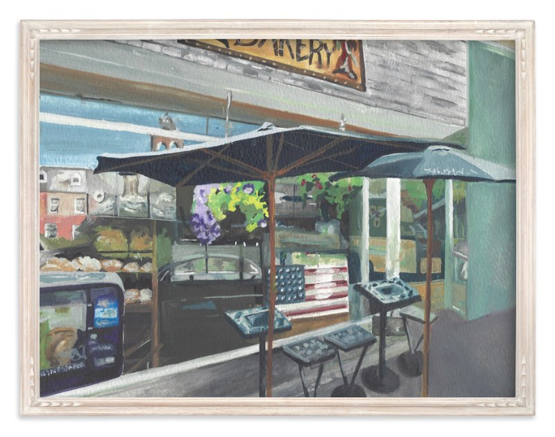 """Reflective Day at a Cafe "" - Art Print by Taylor H Wiedemann in beautiful frame options and a variety of sizes."