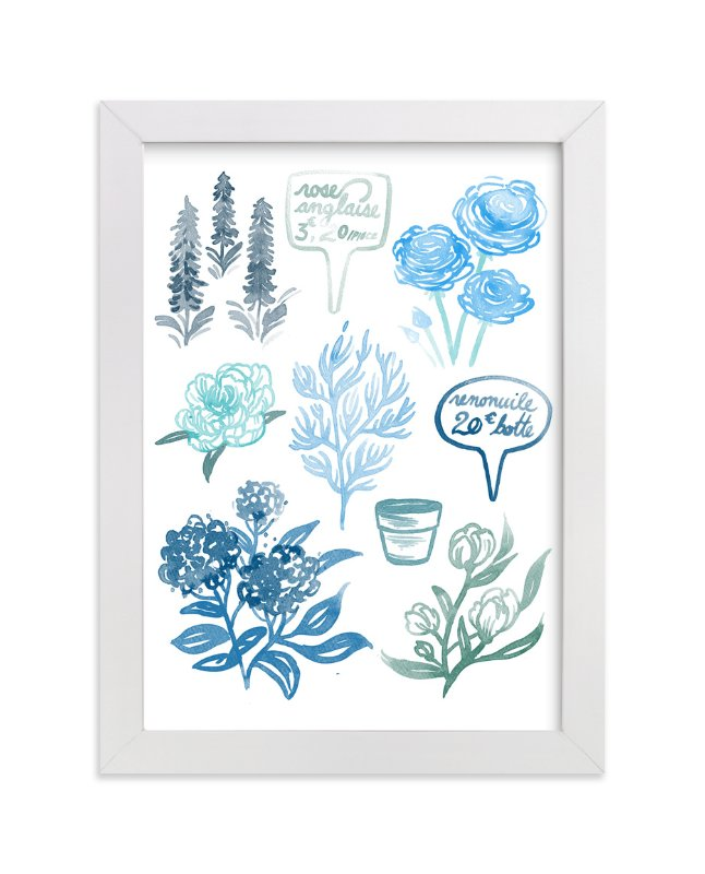 """""""Blue Watercolor French Flowers """" - Art Print by Paper Raven Co. in beautiful frame options and a variety of sizes."""