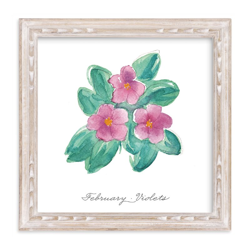 """February Violets"" - Art Print by Liz Conley in beautiful frame options and a variety of sizes."