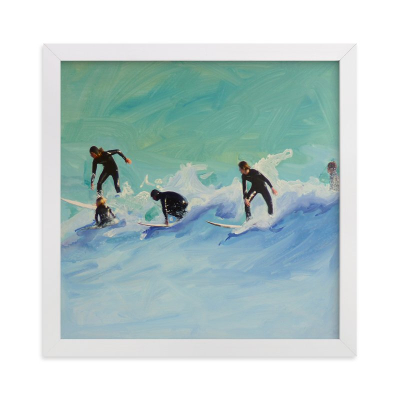 """Surf boys at Sunset"" - Art Print by Annie Seaton in beautiful frame options and a variety of sizes."