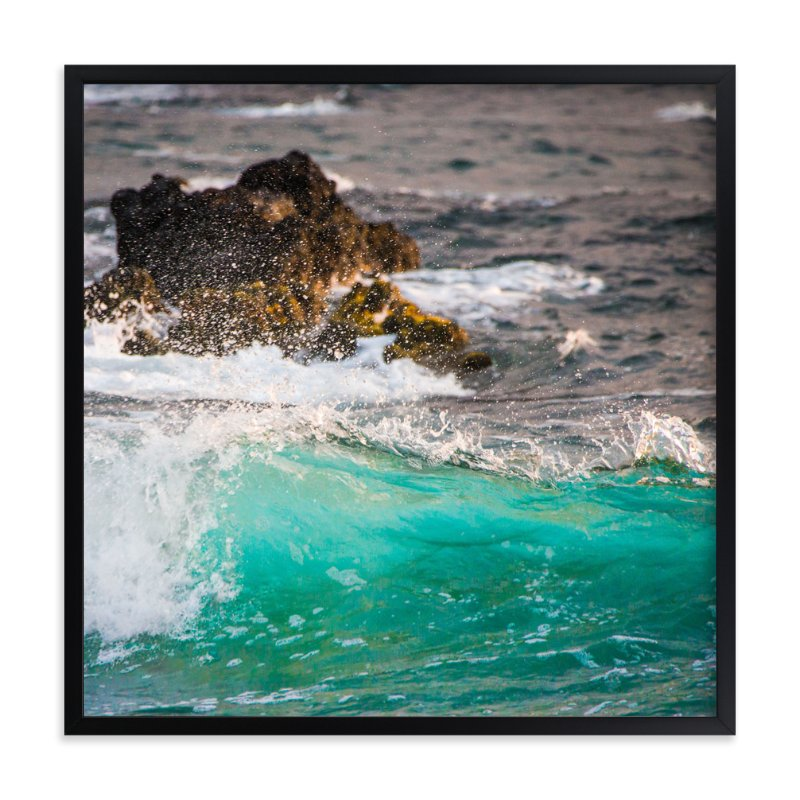 """Wave Crashing on Lava Rocks"" - Art Print by Mary Ann Glynn-Tusa in beautiful frame options and a variety of sizes."