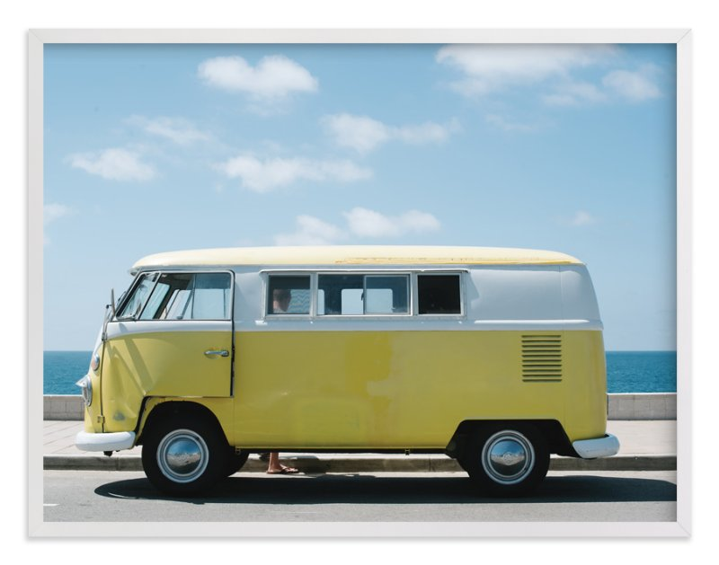 """Yellow Van"" - Art Print by Jennifer Little in beautiful frame options and a variety of sizes."