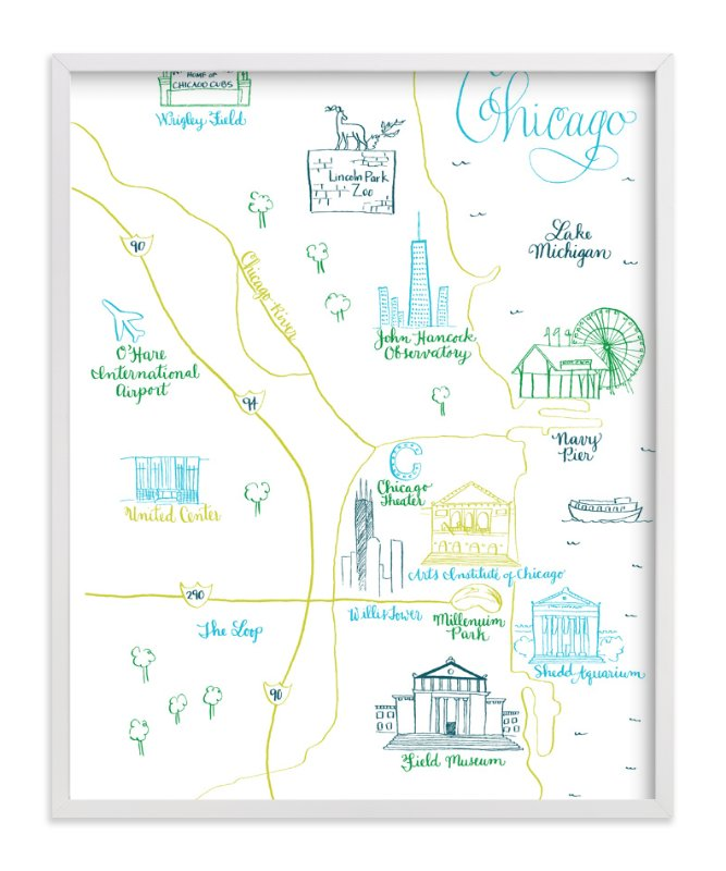 """Chicago Calligraphy Map"" - Art Print by Megan Kelso in beautiful frame options and a variety of sizes."