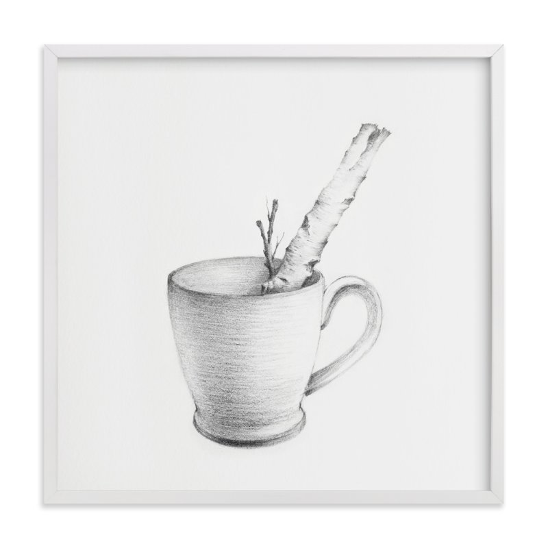 """""""Twig & Coffee cup Bonsai 01"""" - Art Print by jinseikou in beautiful frame options and a variety of sizes."""