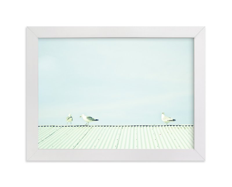 """""""Seagulls On The Roof"""" - Art Print by Alexandra Feo in beautiful frame options and a variety of sizes."""