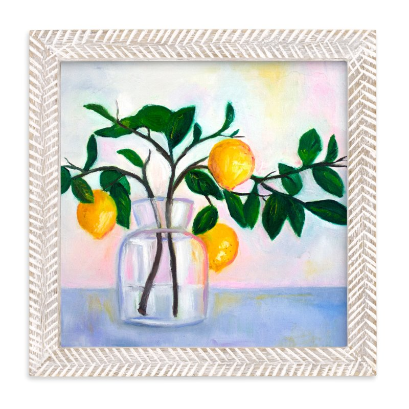 """""""Lemon Branch Still Life"""" - Art Print by Katherine Roberts in beautiful frame options and a variety of sizes."""