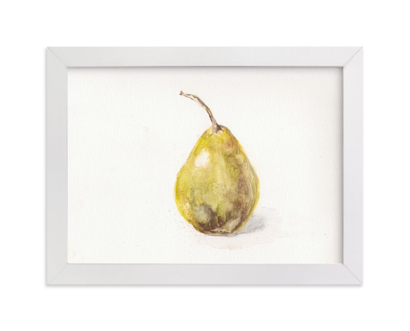 """Single Pear"" - Art Print by Melinda Denison in beautiful frame options and a variety of sizes."