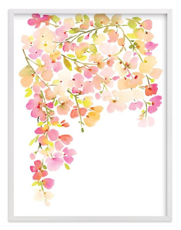 """""""Light Pink Cherry Blossoms"""" - Art Print by Yao Cheng Design in beautiful frame options and a variety of sizes."""