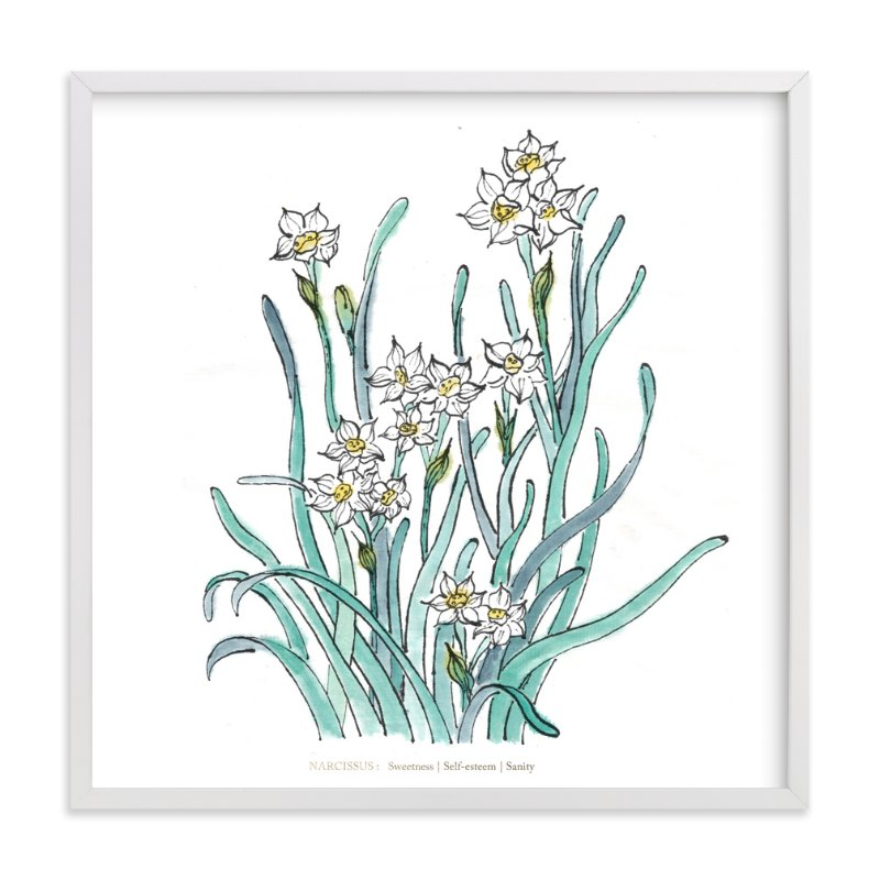 """""""Birth Flower - December -  Narcissus"""" - Art Print by Qing Ji in beautiful frame options and a variety of sizes."""
