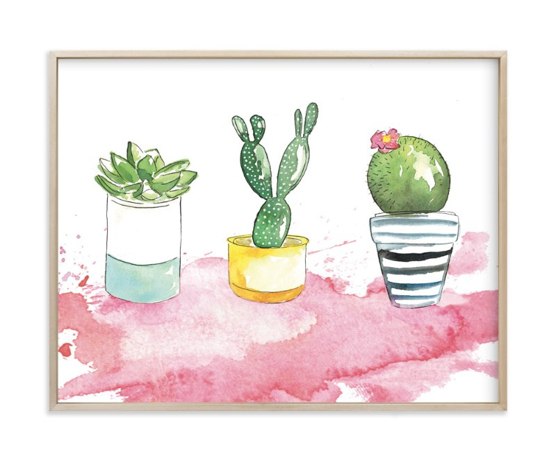 """""""The 3 Cacti"""" - Art Print by Kelsey McNatt in beautiful frame options and a variety of sizes."""