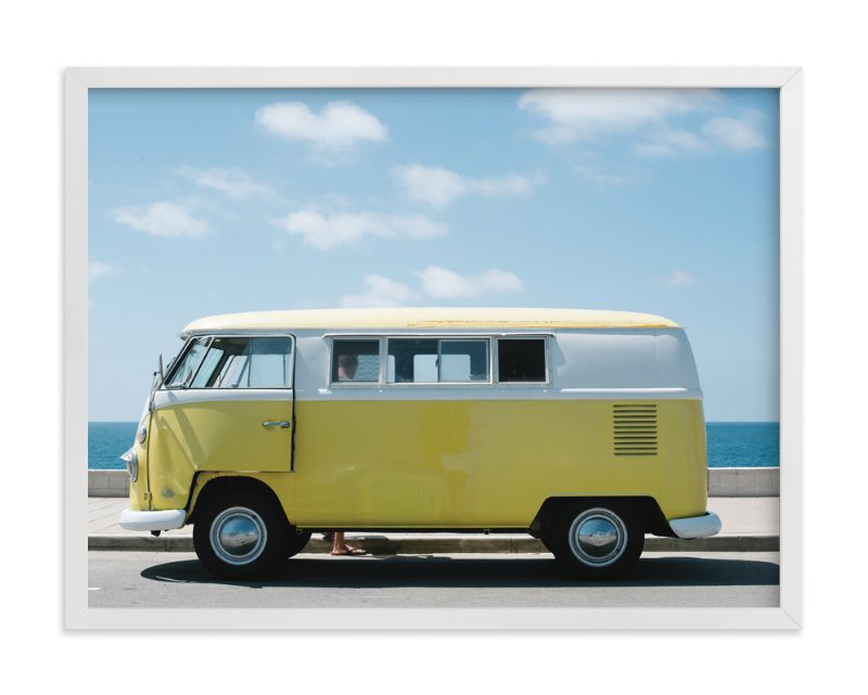 """""""Yellow Van"""" - Art Print by Jennifer Little in beautiful frame options and a variety of sizes."""