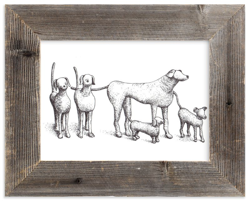 """""""Five Dogs"""" - Art Print by XL in beautiful frame options and a variety of sizes."""