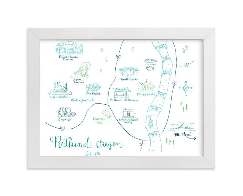 """""""Portland, Oregon Calligraphy Map"""" - Art Print by Megan Kelso in beautiful frame options and a variety of sizes."""