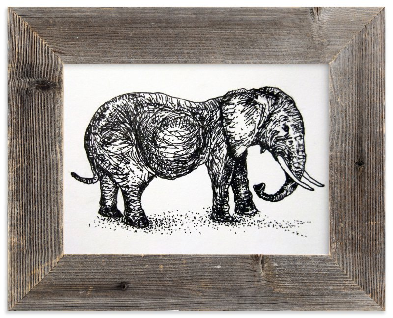 """""""A pregnant elephant"""" - Art Print by XL in beautiful frame options and a variety of sizes."""