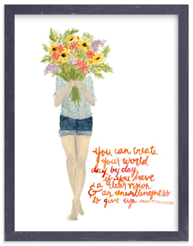 """""""Create Your World Floral"""" - Art Print by Kate Wong in beautiful frame options and a variety of sizes."""