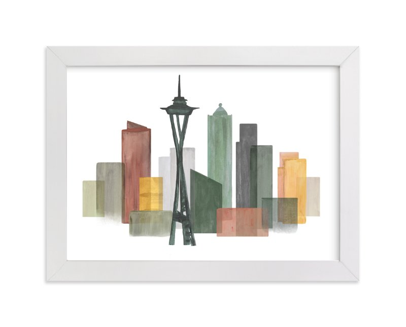"""Skyline Seattle"" - Art Print by Katherine Moynagh in beautiful frame options and a variety of sizes."