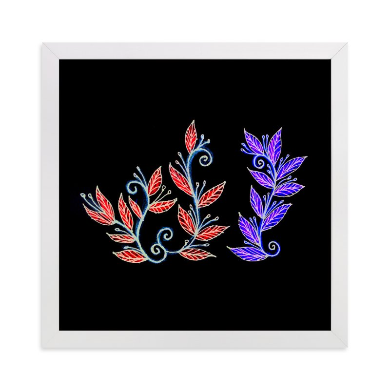"""""""doodle leaves"""" - Art Print by aticnomar in beautiful frame options and a variety of sizes."""