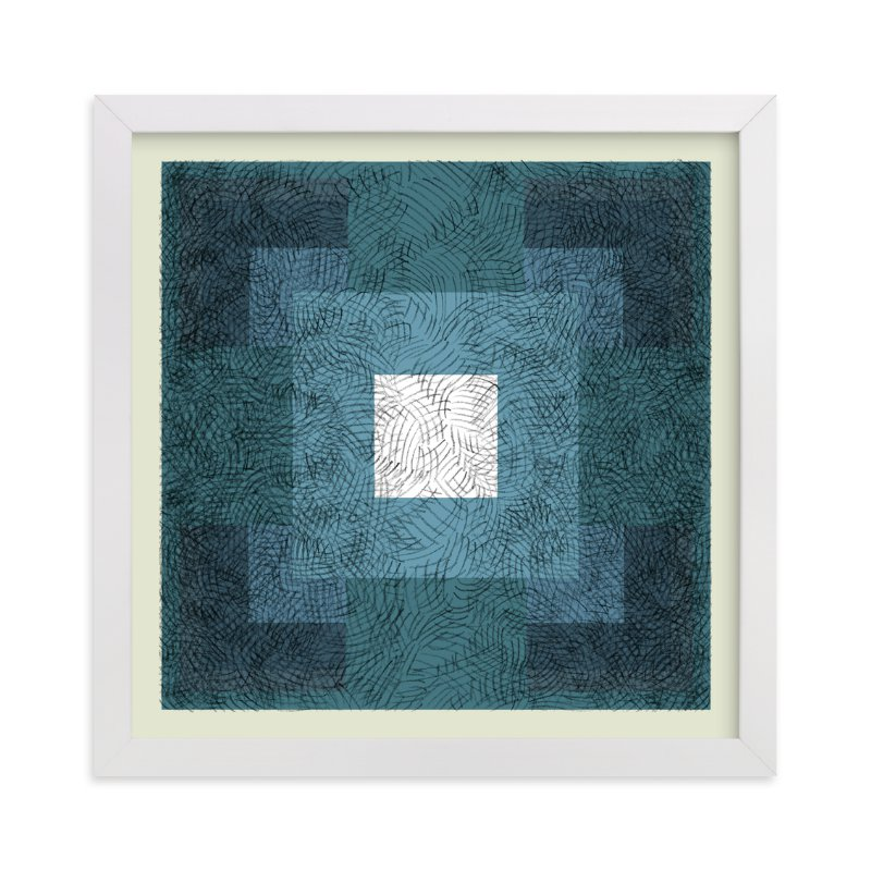 """""""Scribble Squares """" - Art Print by Kathleen Ney in beautiful frame options and a variety of sizes."""