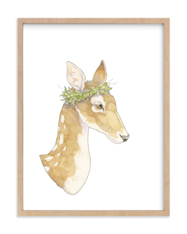 """Mrs Deer"" - Art Print by Natalie Groves in beautiful frame options and a variety of sizes."