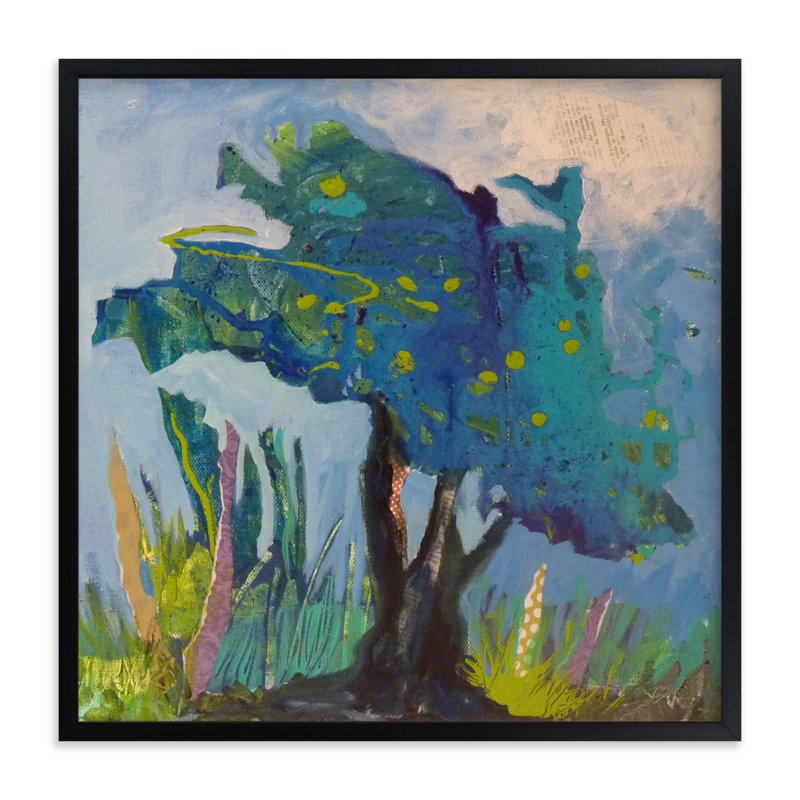 """""""Mon arbre bleu"""" - Art Print by Johanne Roy in beautiful frame options and a variety of sizes."""