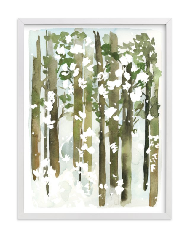 """""""Forest Snow"""" - Art Print by Yao Cheng Design in beautiful frame options and a variety of sizes."""