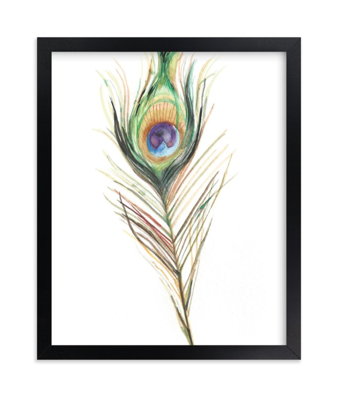 """Peacock Feather"" - Art Print by Amanda Paulson in beautiful frame options and a variety of sizes."