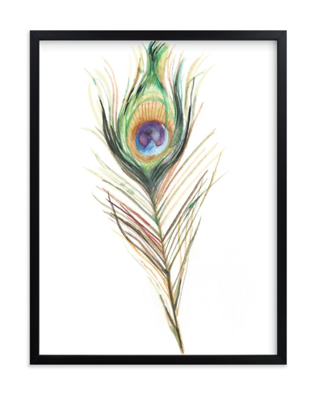 """""""Peacock Feather"""" - Art Print by Amanda Paulson in beautiful frame options and a variety of sizes."""
