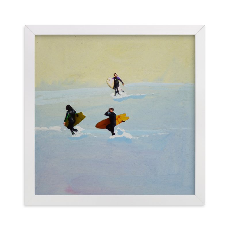 """Rincon Surfers"" - Art Print by Annie Seaton in beautiful frame options and a variety of sizes."