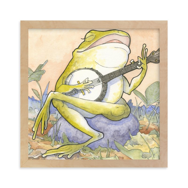 """""""Wide Mouth Froggy"""" - Art Print by Natalie Groves in beautiful frame options and a variety of sizes."""
