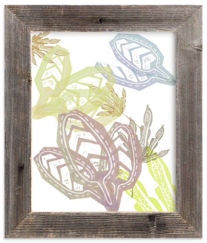 """Lavender + Yellow Leaves "" - Art Print by Debra Bianculli in beautiful frame options and a variety of sizes."