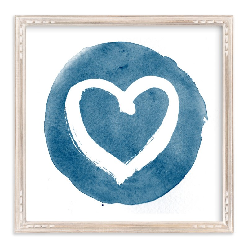"""""""Loving Heart in Brush"""" - Art Print by Qing Ji in beautiful frame options and a variety of sizes."""