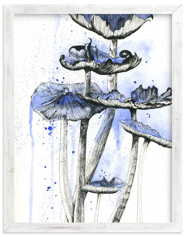 """""""Blue Mushrooms"""" - Art Print by Emily Magone in beautiful frame options and a variety of sizes."""