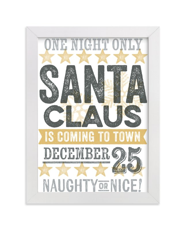 """""""Santa Claus is Coming to Town"""" - Art Print by Jessie Steury in beautiful frame options and a variety of sizes."""