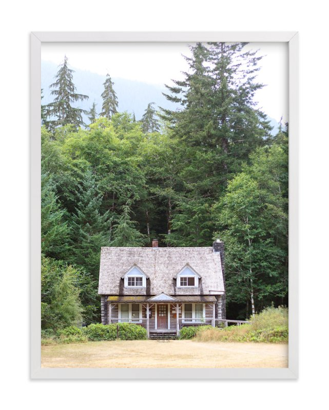 """Cabin at Lake Crescent"" - Art Print by Sharon Rowan in beautiful frame options and a variety of sizes."