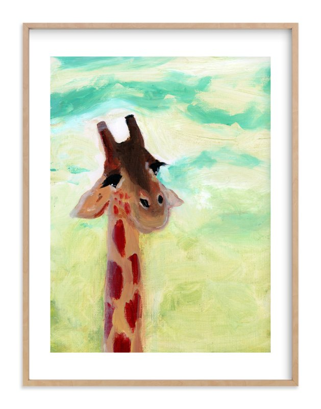 """Giraffe Up Close"" - Art Print by Lindsay Megahed in beautiful frame options and a variety of sizes."