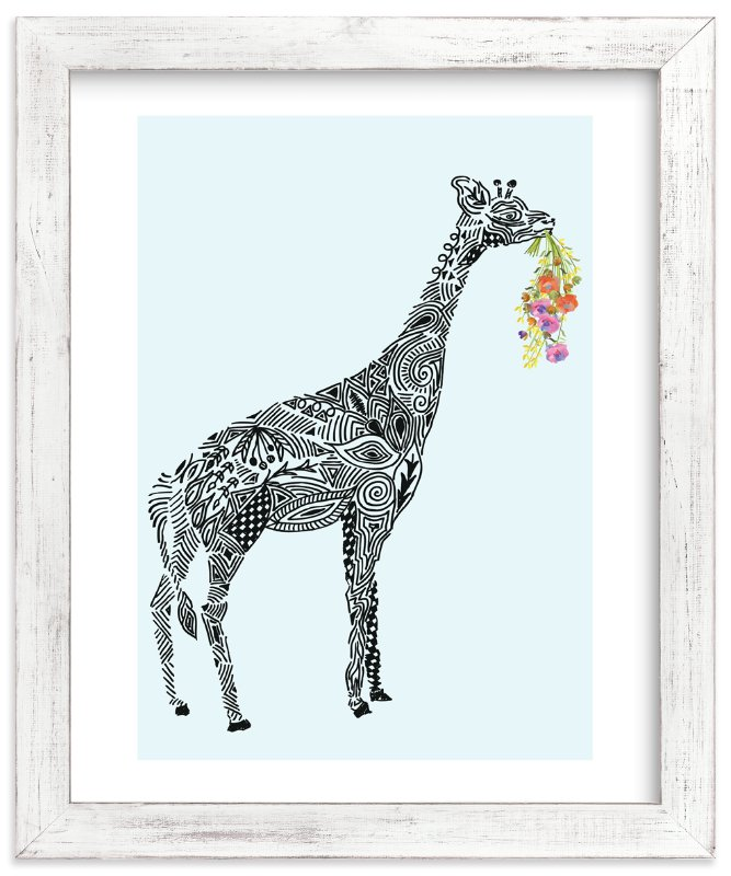 """""""Designer Giraffe with flowers"""" - Art Print by Kanika Mathur in beautiful frame options and a variety of sizes."""