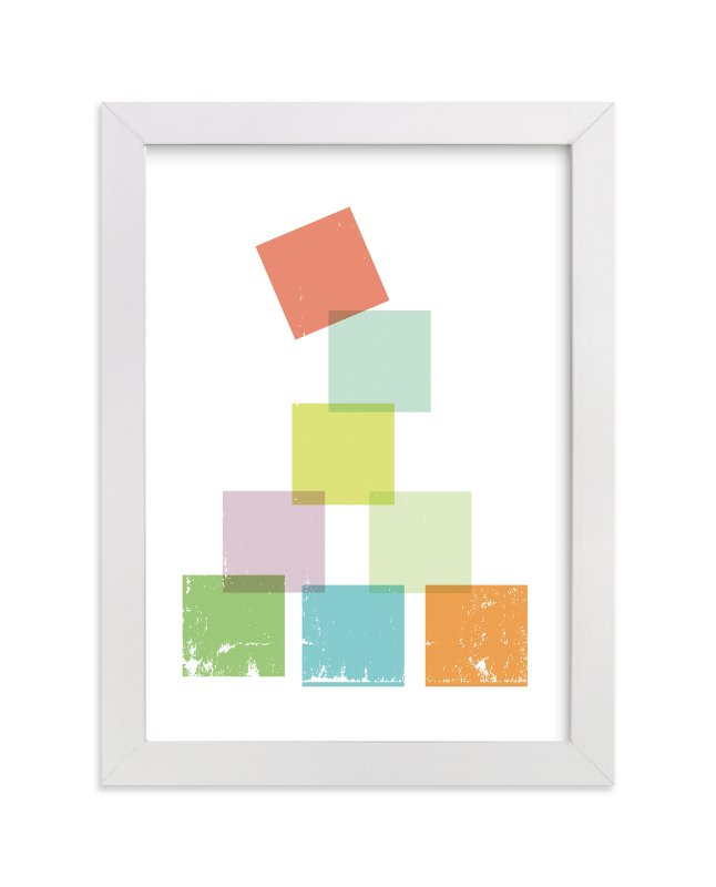 """Stack the Blocks"" - Art Print by Design Lotus in beautiful frame options and a variety of sizes."