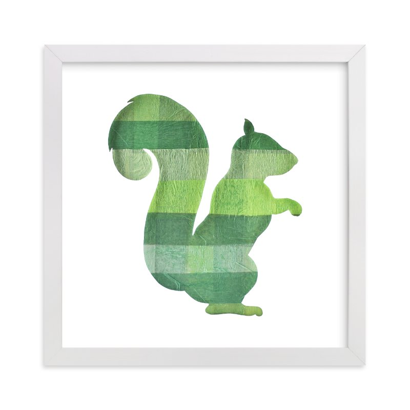 """""""Green Party Squirrel"""" - Art Print by Jeff Preuss in beautiful frame options and a variety of sizes."""